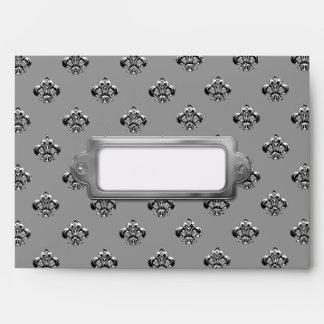 Metallic Fleur de lis Silver Envelopes