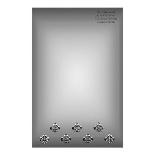 Metallic Fleur de lis (Silver) Stationery