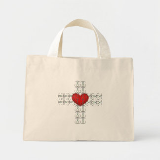 Metallic Flourish Cross with Red Heart Bags