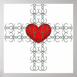 Metallic Flourish Cross with Red Heart Print