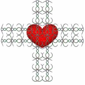 Metallic Flourish Cross with Red Heart Statuette