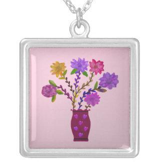 Metallic Flower Vase Necklace