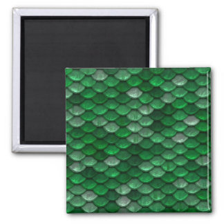 Metallic Forest Green Scales Print Magnet
