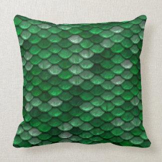 Metallic Forest Green Scales Print Throw Pillow