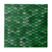 Metallic Forest Green Scales Print Tile