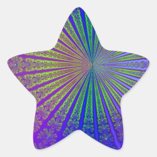 Metallic Fractal Art Star Sticker