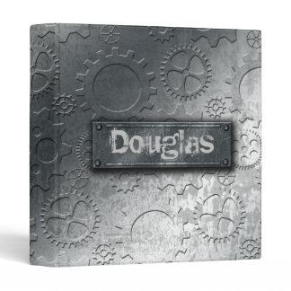 Metallic Gears with Bolted Label –Add Name- Binder