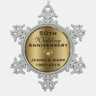 Metallic Gold 50th Wedding Anniversary Ornament