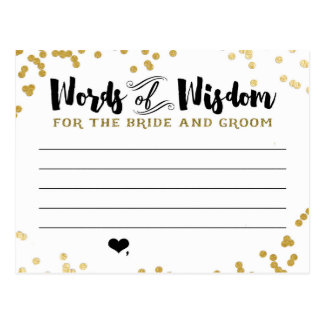 Metallic Gold Advice Card for Bride and Groom