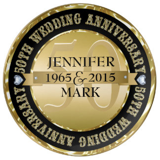 Metallic Gold And Black 50th Anniversary Dinner Plate