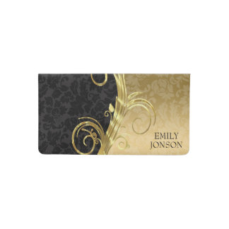 Metallic Gold And Black Damask Checkbook Cover