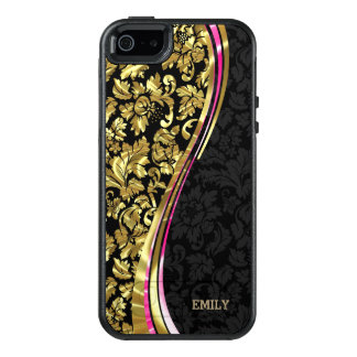 Metallic Gold And Black Damask OtterBox iPhone 5/5s/SE Case