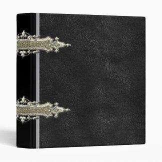 Metallic gold and black Leather binder