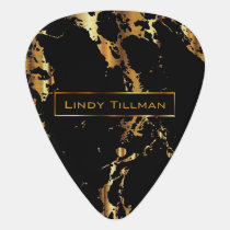 Metallic Gold and Black Marble Design 🎸 Guitar Pick