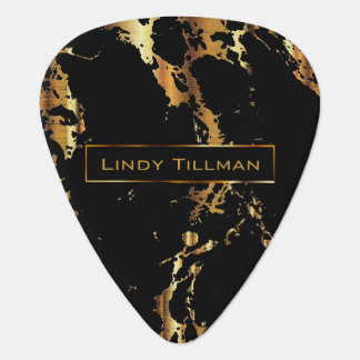 Metallic Gold and Black Marble Design Guitar Pick