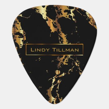 Metallic Gold And Black Marble Design Guitar Pick by DesignsbyDonnaSiggy at Zazzle