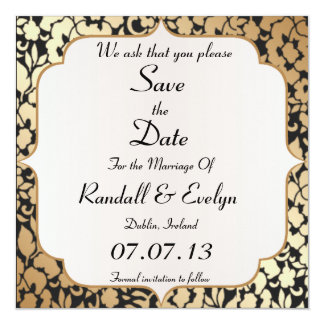 Metallic Gold and Black Save The Date Notice Card