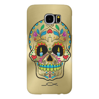 Metallic Gold And Colorful Sugar Skull Samsung Galaxy S6 Case