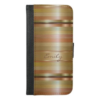 Metallic Gold And Copper Stripes Pattern Monogram