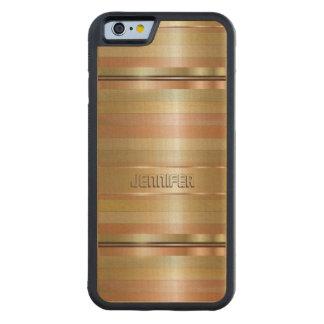 Metallic Gold And Copper Stripes Pattern Monogram Maple iPhone 6 Bumper