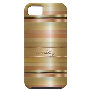 Metallic Gold And Copper Stripes Pattern Monogram iPhone 5 Cases