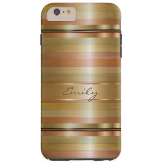Metallic Gold And Copper Stripes Pattern Monogram Tough iPhone 6 Plus Case