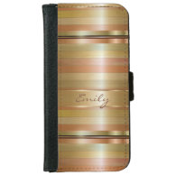 Metallic Gold And Copper Stripes Pattern Monogram iPhone 6 Wallet Case