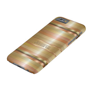 Metallic Gold And Copper Stripes Pattern Monogram iPhone 6 Case