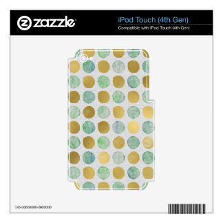 Metallic Gold and Green Polka Dot Print Skin For iPod Touch 4G