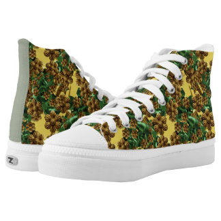 Metallic Gold and Green Radical Pattern High-Top Sneakers