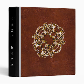 Metallic gold and red Leather binder