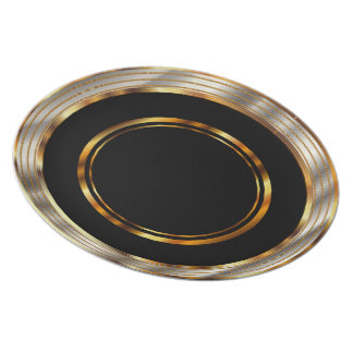 Metallic Gold and Silver Circle on Black Melamine Plate