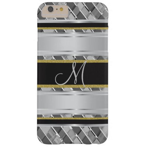 Metallic Gold And Silver Stripes Monogram Barely There iPhone 6 Plus Case
