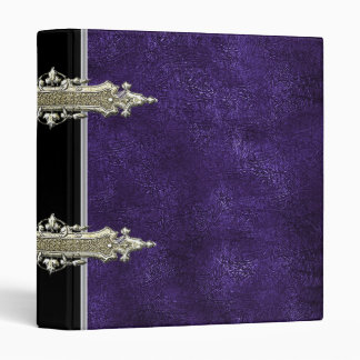 Metallic gold and violet Leather binder