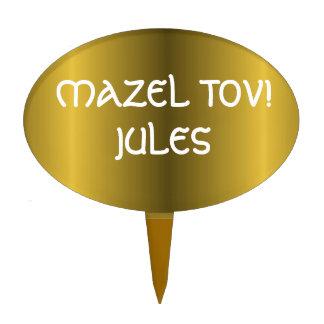 Metallic Gold Bar Bat Mitzvah Cake Topper