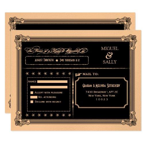 Metallic Gold & Black DIY Wedding RSVP Card