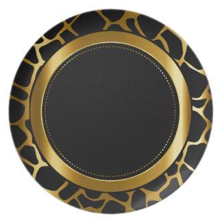 Metallic Gold & Black Giraffe Animal Pattern Dinner Plate