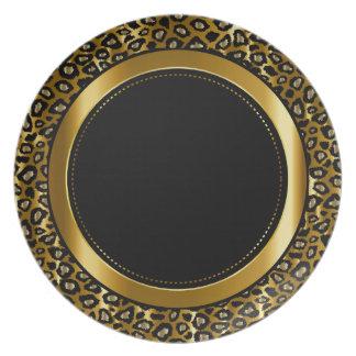 Metallic Gold & Black Leopard Animal Pattern Plate