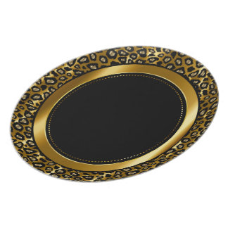 Metallic Gold & Black Leopard Animal Pattern Plate