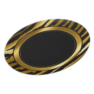 Metallic Gold & Black Zebra Animal Stripes Melamine Plate