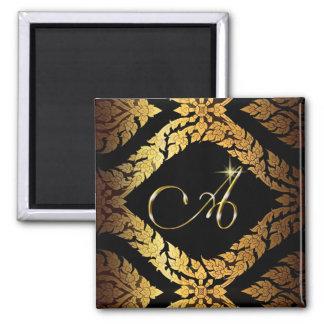 "Metallic Gold Brocade Monogram Initial ""A"" Magnet"