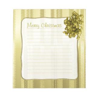 Metallic Gold Christmas Stripes of  Ribbon Design Notepad