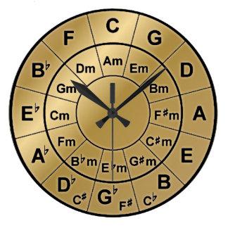 Metallic Gold Circle of Fifths Chord Wheel Clock