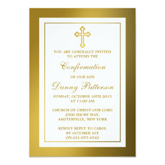 Metallic Gold Cross Holy Communion Or Confirmation 5x7 Paper Invitation Card