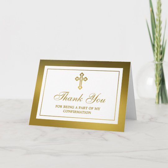 metallic gold cross holy communion or confirmation thank you card