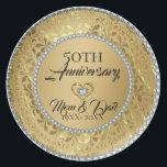 "Metallic Gold Damask And Diamonds 50th Anniversary Melamine Plate<br><div class=""desc"">Elegant metallic gold floral damask and diamonds 50th wedding anniversary</div>"