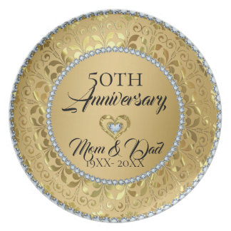 Metallic Gold Damask And Diamonds 50th Anniversary Melamine Plate