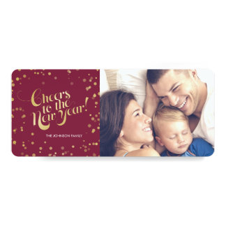 Metallic Gold Dots Berry Cheers New Years Holidays Card
