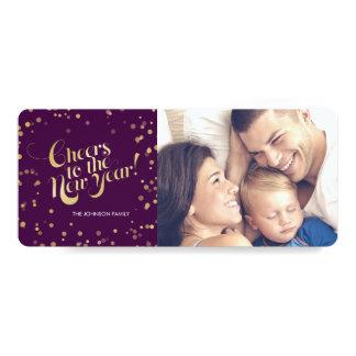 Metallic Gold Dots Plum Cheers New Years Holidays Card