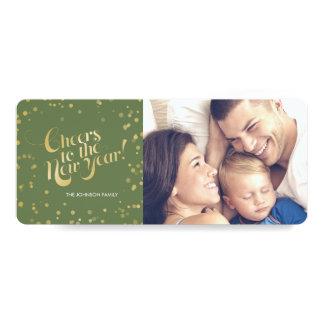 Metallic Gold Dots Sage Cheers New Years Holidays Card